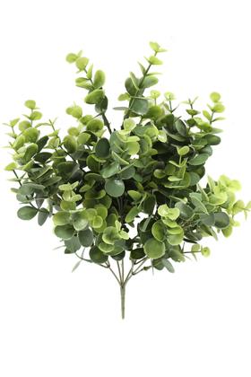 Yapay Çiçek Deposu - Lüx Plastik Okaliptus Şimşir Demeti Mat Yeşil