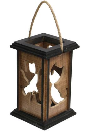 Yapay Çiçek Deposu - Kedi Figürlü Lüx Ahşap Fener Mumluk 24 cm (MDF LAM)