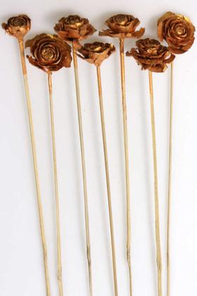 Yapay Çiçek Deposu - Cedar Rose 7li Demet 45 cm Bakır