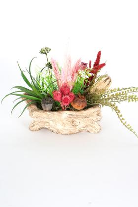 Yapay Çiçek Deposu - Kütük Görünümlü Saksıda Tropik Çiçek Tanzimi Model 3