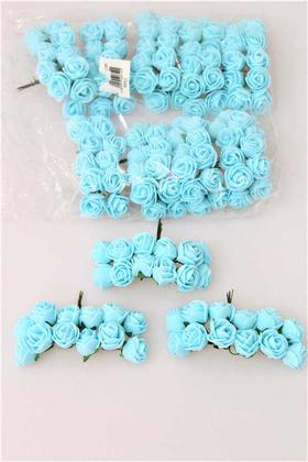 Yapay Çiçek Deposu - 144lü Mini Lateks Gül Açık Mavi