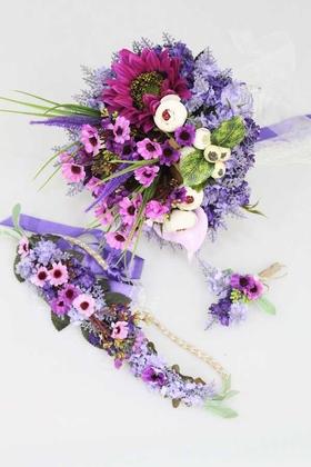 Yapay Çiçek Deposu - Gelin Buketi Şakayıklar ve Lavantalar 3lü Set