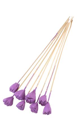Yapay Çiçek Deposu - 8li Tropik Jack Seed Kuru Çiçek Lavanta Mor