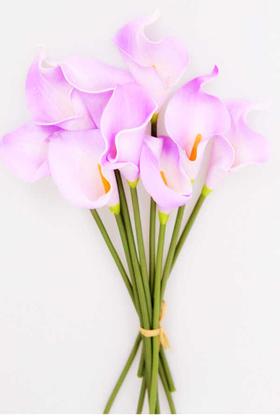 Yapay Çiçek Deposu - Yapay Çiçek Islak Gerçek Gala Çiçeği 9 Dal Lila
