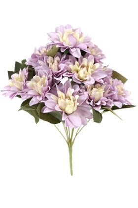 Yapay Çiçek Deposu - Gerçeğe Yakın Dahlia Yıldız Çiçeği 40 cm Lila Krem