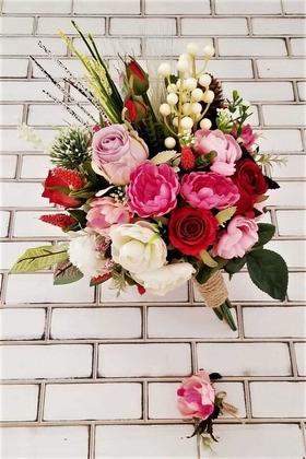 Yapay Çiçek Deposu - Linos Kırmızı Güller Pembe Şakayık Güller Cipso Şöleni Gelin Çiçeği 2li Set