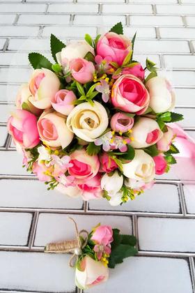 Yapay Çiçek Deposu - Litvanya Gelin Buketi Şakayık Güller Fuşya 2li Set