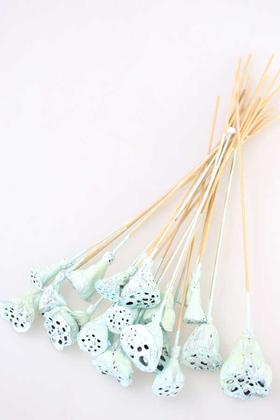 Yapay Çiçek Deposu - 20 Adet Bambu Şiş Saplı Mini Lotus Çiçeği Plant Uçuk Mavi (Gerçek Lotus)