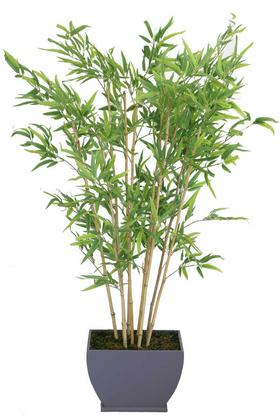 Yapay Çiçek Deposu - Lüx Saksıda Yapay Bambu Ağacı 160 cm 10 Gövdeli (Islak Kırçıllı Yaprak)