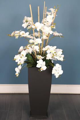 Yapay Çiçek Deposu - Ahşap Saksıda Deluxe Yapay Orkide Aranjmanı 140 cm