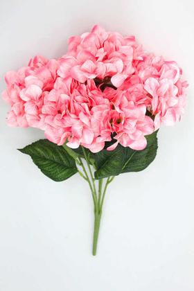 Yapay Çiçek Deposu - Yapay Çiçek Büyük 5 Dal Delüx Damarlı Ortanca Demeti Açık Pembe