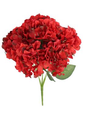 Yapay Çiçek Deposu - Yapay Çiçek 5 Dal Ortanca Demeti Kırmızı