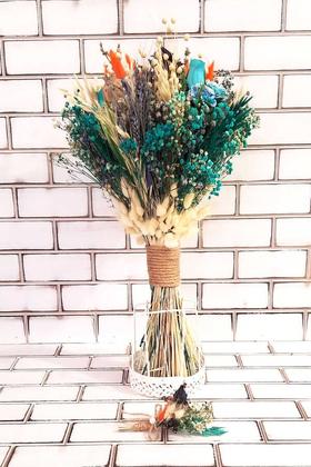 Yapay Çiçek Deposu - Büyük Kuru Çiçek Gelin Buketi Mavi - Turuncu