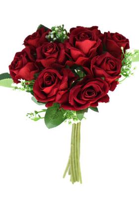 Yapay Çiçek Deposu - Yapay Çiçek 9lu Kaliteli Kadife Gül Demeti 27cm Kırmızı