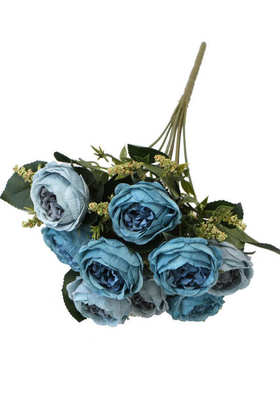 Yapay Çiçek Deposu - Yapay Çiçek 9 Dallı Meilland Cipsolu Gül Demeti Mavi