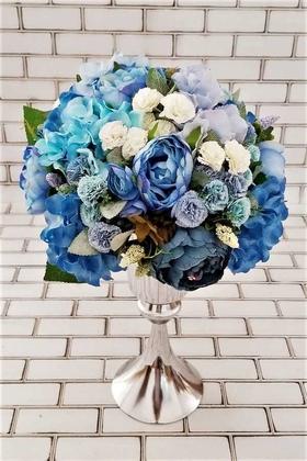 Yapay Çiçek Deposu - Ortanca Şakayık Güller Karanfil Şöleni Kız İsteme Hediyelik Aranjman Mavi
