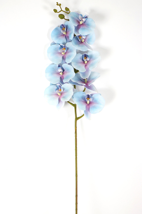 Yapay Çiçek Deposu - Yapay Islak Dokulu Premium Orkide Çiçeği 97 cm Havai Mavi