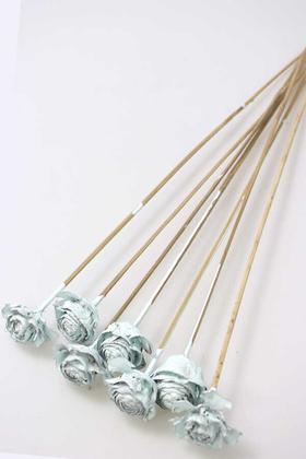 Yapay Çiçek Deposu - Cedar Rose 7Li Demet 45 cm Uçuk Mavi