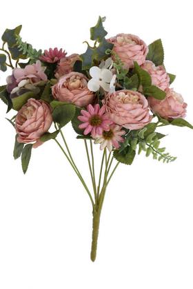 Yapay Çiçek Deposu - 9 Dal Kibar Soft Şakayık Gül Aranjmanı Pudra