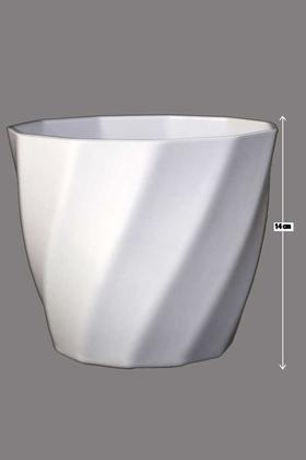 Yapay Çiçek Deposu - Melamin Saksı 14cm Model 2 Beyaz