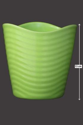 Yapay Çiçek Deposu - Melamin Saksı Model 10 Yeşil Renk