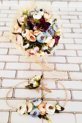 Yapay Çiçek Deposu - Gelin Buketi Menefer Pastel Tonlar Şakayıklar 3lü Set