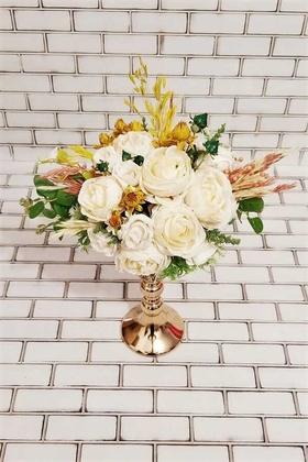 Yapay Çiçek Deposu - Merlin Beyaz Şakayık Güller ve Kuru Çiçek Şöleni Dekor Kız İsteme Hediyelik Aranjman Beyaz Sarı