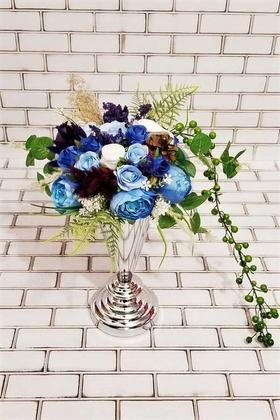 Yapay Çiçek Deposu - Merlin Mavi Şakayık Güller Dekor Kız İsteme Hediyelik Aranjman Bebek Mavi- Saks Mavi