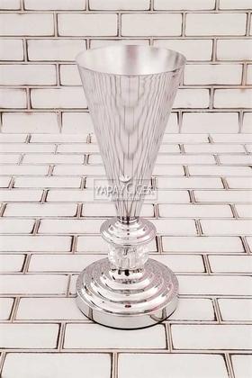 Yapay Çiçek Deposu - Dekoratif Metal Vazo Vario 31cm Gümüş