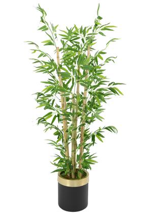 Yapay Çiçek Deposu - Metal Galvaniz Saksıda Yapay Bambu Ağacı 6 Gövde 140 cm (Siyah-Gold)