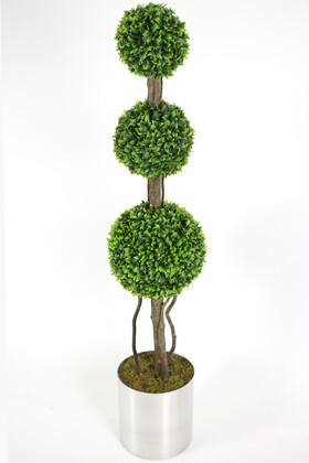 Yapay Çiçek Deposu - Paslanmaz Metal Saksıda Yapay Top Şimşir Ağacı 165 cm