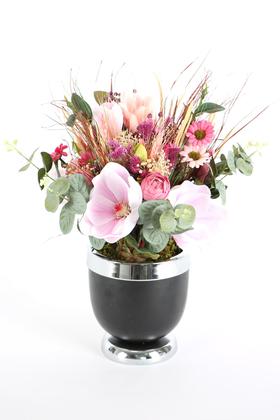 Yapay Çiçek Deposu - Metal Vazoda Lüx Yapay Çiçek Tanzimi Gölköy