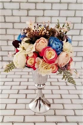 Yapay Çiçek Deposu - Mia İri Güller Kız İsteme Hediyelik Aranjman Fuşya Mavi