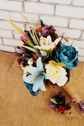 Yapay Çiçek Deposu - Milas Mavi Beyaz Büyük Kuru Çiçek Gelin Buketi 2li Set