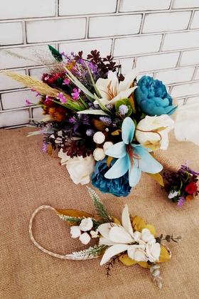 Yapay Çiçek Deposu - Milas Büyük Kuru Çiçek Gelin Buketi 3lü Set