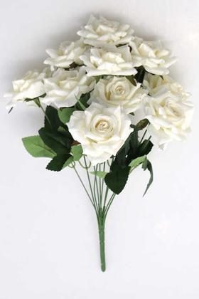 Yapay Çiçek Deposu - 10 Dal Kaliteli Büyük Ekvator Gül Demeti 42 cm Beyaz