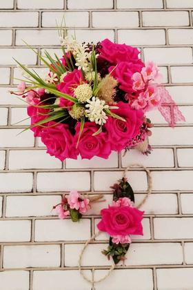 Yapay Çiçek Deposu - Minerva Fuşya Lüx Güller Gelin Buketi 3lü Set