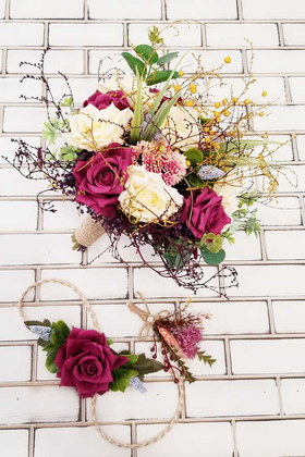 Yapay Çiçek Deposu - Minerva Mürdüm Kırık Beyaz Güller Gelin Buketi 3lü Set