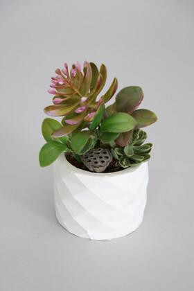 Yapay Çiçek Deposu - Mini Beton Saksıda Lotuslu Succulent Morlu Model