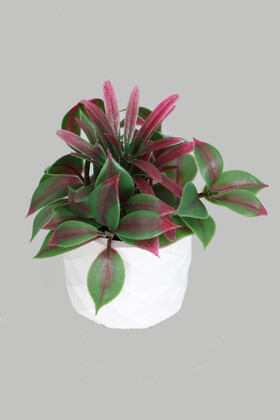 Yapay Çiçek Deposu - Mini Beton Saksıda Yapay Defne Çiçeği Yeşil-Kırmızı