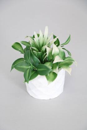 Yapay Çiçek Deposu - Mini Beton Saksıda Yapay Defne Çiçeği Yeşil-Beyaz