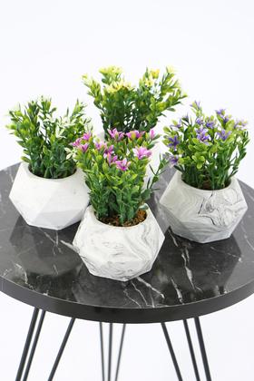 Yapay Çiçek Deposu - Beton Saksıda Yapay Bitki 4lü Set Model 4