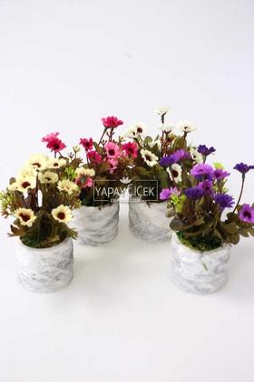 Yapay Çiçek Deposu - Beton Saksıda Bahar Papatyası 4lü Set