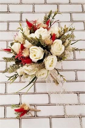 Yapay Çiçek Deposu - Miranda Gül ve Kuru Çiçek Kokteyli Gelin Buketi 2li Set