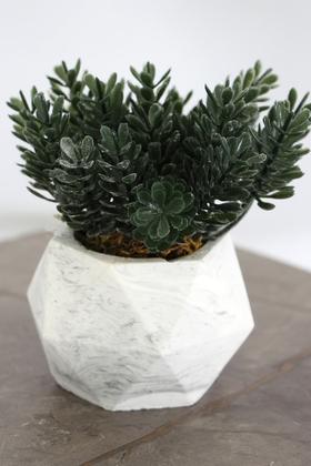 Yapay Çiçek Deposu - Beton Saksıda Yapay Masa Çiçeği Model 13