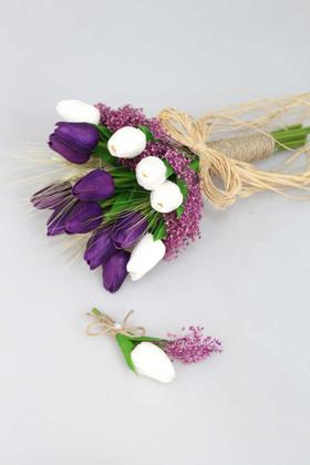 Yapay Çiçek Deposu - Gonca Islak Lale Gelin Çiçeği 2li Set Beyaz-Mor