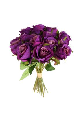 Yapay Çiçek Deposu - Yapay Çiçek 15li Küçük Tomur Gül Buketi Mor