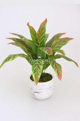 Yapay Çiçek Deposu - Beton Saksıda Uzun Yapraklı Yapay Bitki 42 cm Model-2