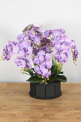 Yapay Çiçek Deposu - Dekoratif Ahşap Saksıda 7 Dal Orkide Tanzimi Mor