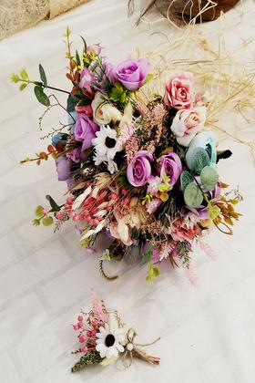 Yapay Çiçek Deposu - Moriya Gelin Buketi 2li Set